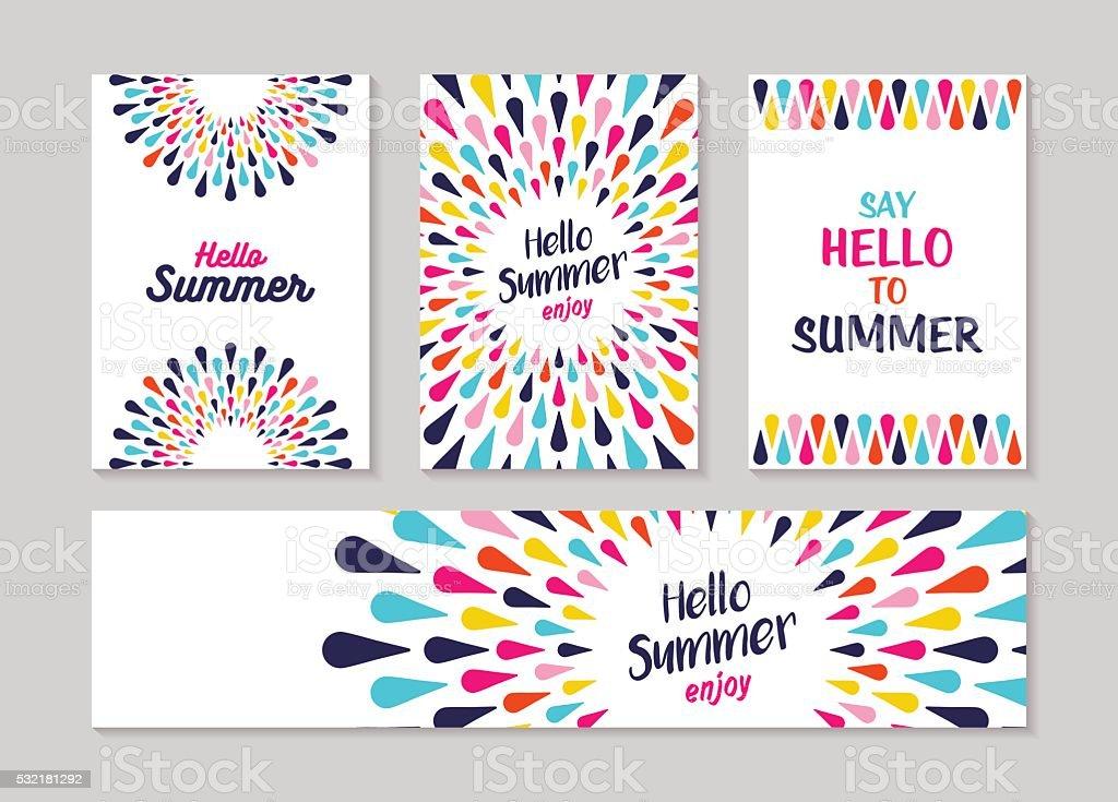 Hallo Sommer bunte Kunst Grußkarte und label – Vektorgrafik