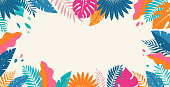 istock Hello Summer concept design, summer panorama, abstract illustration with jungle exotic leaves, colorful design, summer background and banner 1323946778