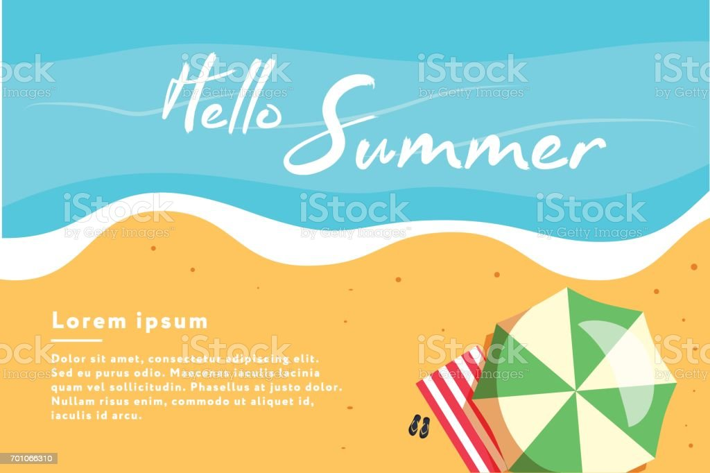 こんにちは夏の概念ベクトル図ビーチの平面図ですポスターのテンプレート