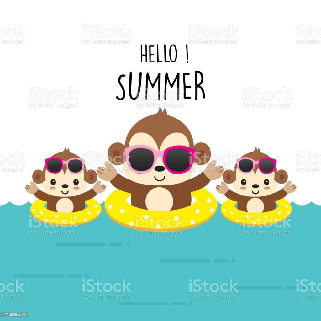 こんにちは夏かわいい猿漫画 アフリカのベクターアート素材や画像を多数ご用意 Istock