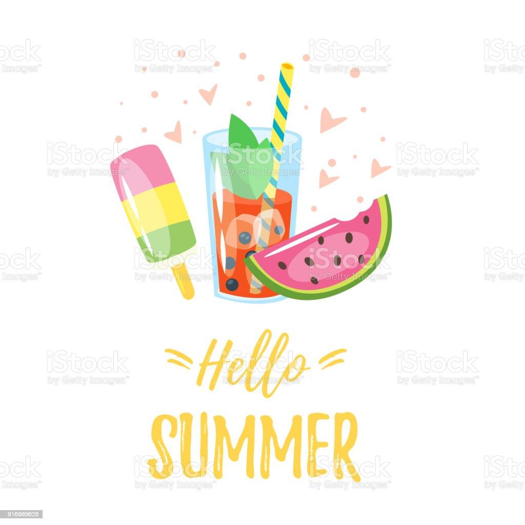 Hola diseño de verano - ilustración de arte vectorial
