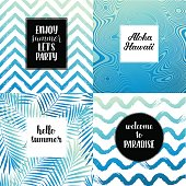 Hello summer, Enjoy summer let's party, Aloha Hawaii fashion typography posters, greeting cards set in black, gold and white. Vector summer background with tropical palm tree leaves, strips.