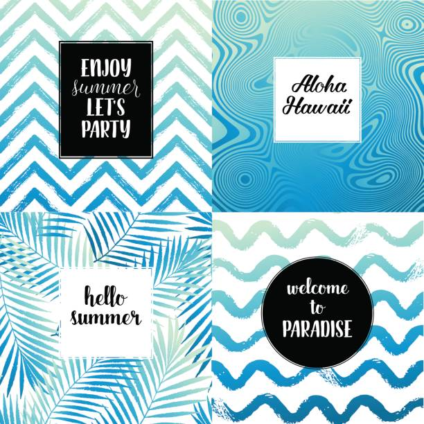 hello summer, enjoy summer let's party, aloha hawaii fashion typography posters, greeting cards set in black, gold and white. vector summer background with tropical palm tree leaves, strips. - summer fashion stock illustrations, clip art, cartoons, & icons