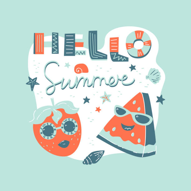 hello summer. fashion strawberry and watermelon - summer fashion stock illustrations, clip art, cartoons, & icons