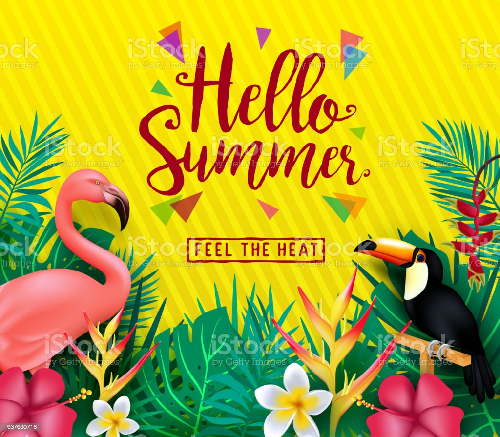 Hello Summer Feel The Heat Poster With Tropical Leaves And Flowers