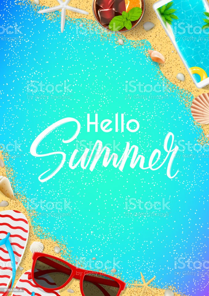 Hello Summer Flyer Template Stock Vector Art More Images Of