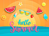 Hello Summer greeting banner with sea, sun and symbols for summertime such as ice cream,watermelon,strawberries,glasses.Lettering for template card, wallpaper,flyer,invitation, poster,brochure.Vector