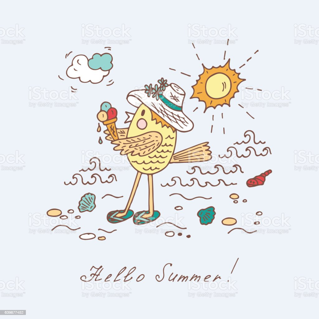 Hello Summer. Funny Cartoon Bird. Hand Drawn Doodles Vector Illustration  Royalty Free Stock