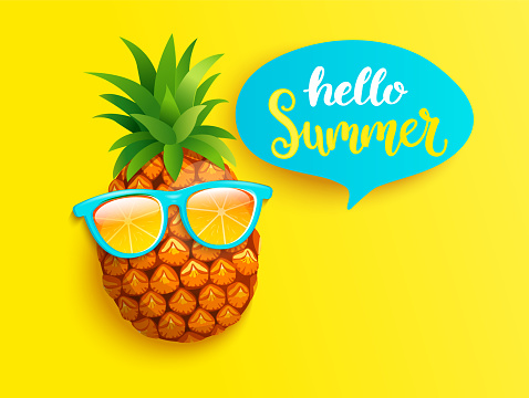 Hello summer greeting banner with pineapple.