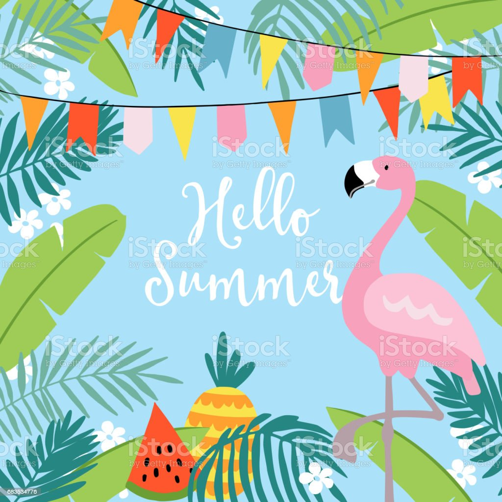 Hello Summer greeting card, invitation, invitations with hand drawn palm leaves, flowers, flamingo bird and party flags. Tropical jungle design. Vector illustration background vector art illustration