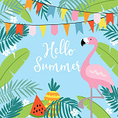 Hello Summer greeting card, invitation, invitations with hand drawn palm leaves, flowers, flamingo bird and party flags. Tropical jungle design. Vector illustration background