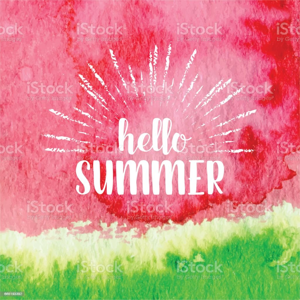 Hello summer greeting card, poster, print. Vector  typographical background with hand drawn watercolor watermelon abstract paint texture. - illustrazione arte vettoriale