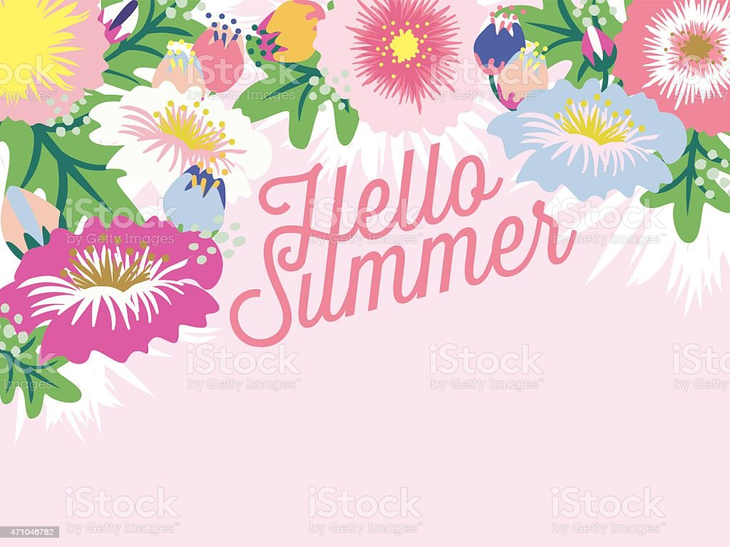 Charmant Hello Summer Greeting Card With Blossoming Flowers Royalty Free Hello Summer  Greeting Card With Blossoming