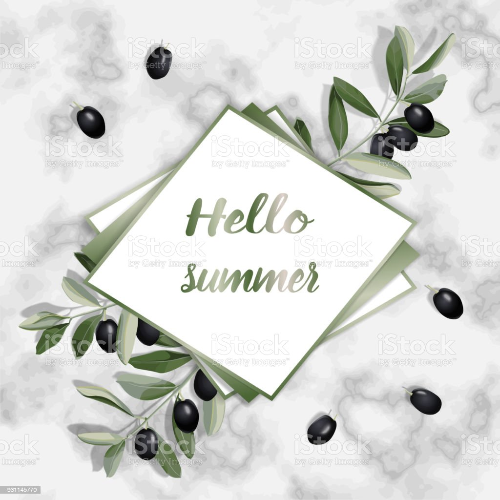 Hello Summer Greeting Card With Olive Brunches Stock Vector Art