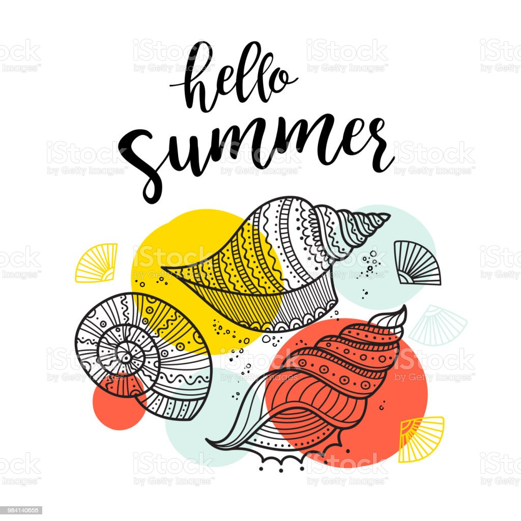 Hello Summer Greeting Card With Shells In Boho Style With Ornaments