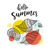 Hello summer greeting card with shells in boho style with ornaments. Can be printed and used as invitation, poster, placard, etc
