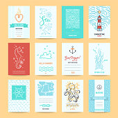 Hello summer holiday, sea vacation cards, wedding invitation, beach party flyer, travel agency poster template. Artistic collection of summertime traveling hand drawn design elements, symbols, illustration.