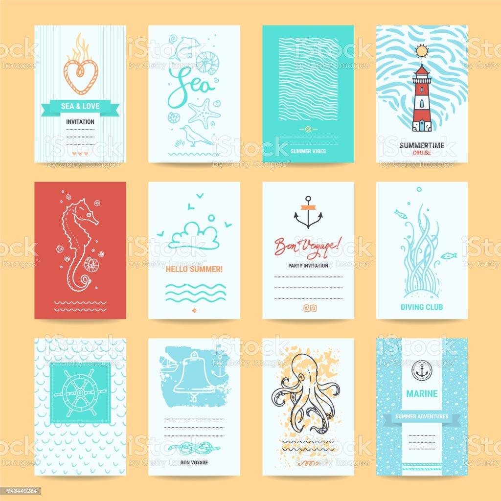 Hello Summer Greeting Cards, Nautic Illustrations vector art illustration