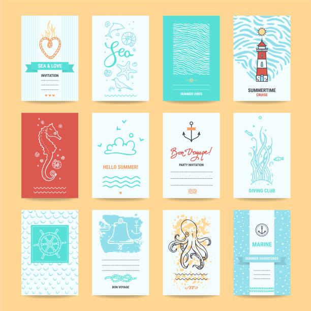 Hello Summer Greeting Cards, Nautic Illustrations Hello summer holiday, sea vacation cards, wedding invitation, beach party flyer, travel agency poster template. Artistic collection of summertime traveling hand drawn design elements, symbols, illustration. sea horse stock illustrations