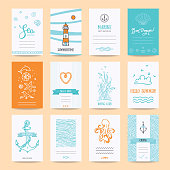 Hello summer holiday, sea vacation, marine trip card, wedding invitation, party flyer, poster. Hipster collection of summertime traveling templates, hand drawn design elements, symbols, illustration.