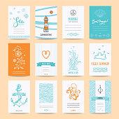 Hello Summer Greeting Cards, Nautic Illustrations