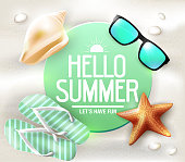 Hello Summer Greeting on Circle Tag Laying in The Sand