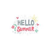 Hello summer hand drawn flat vector lettering. Slogan, message stylized typography. Summer vacation, doodle drawings.Beach party. Sun rays, waves, flowers, heart sketches. T-shirt, banner design