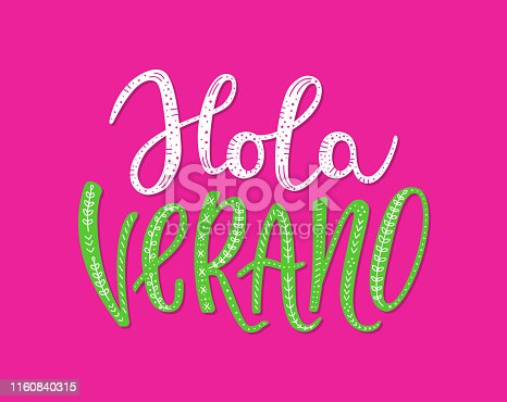 istock Hello Summer hand drawn lettering inscription in Spanish 1160840315