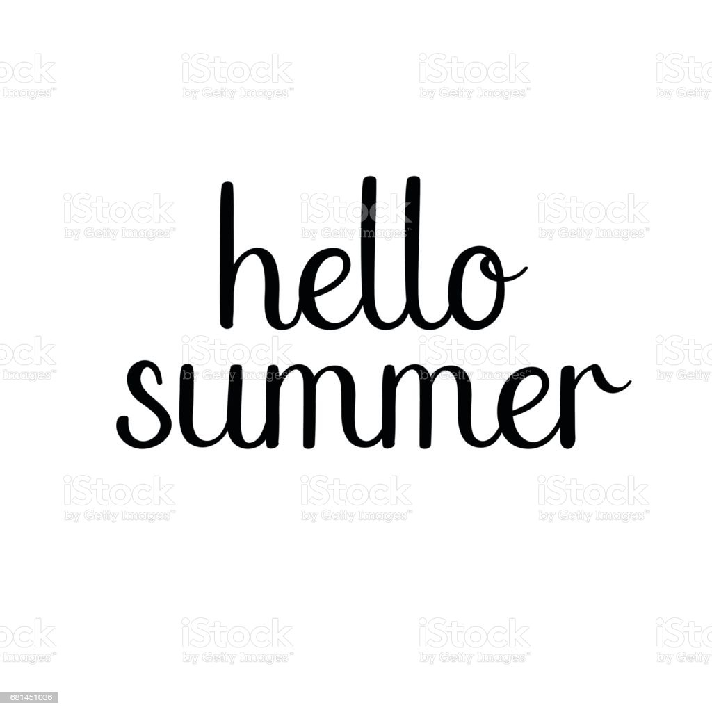 Hello summer hand drawn lettering isolated on white background. Calligraphy royalty-free hello summer hand drawn lettering isolated on white background calligraphy stock vector art & more images of art