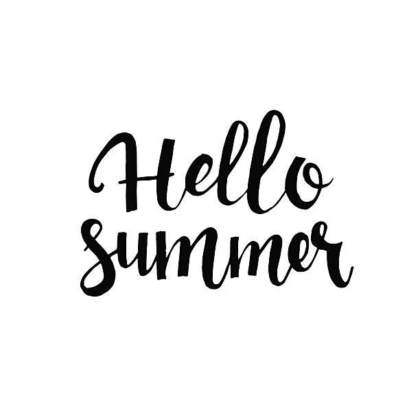 hallo sommer handgezeichnet schriftzug - hello stock-grafiken, -clipart, -cartoons und -symbole