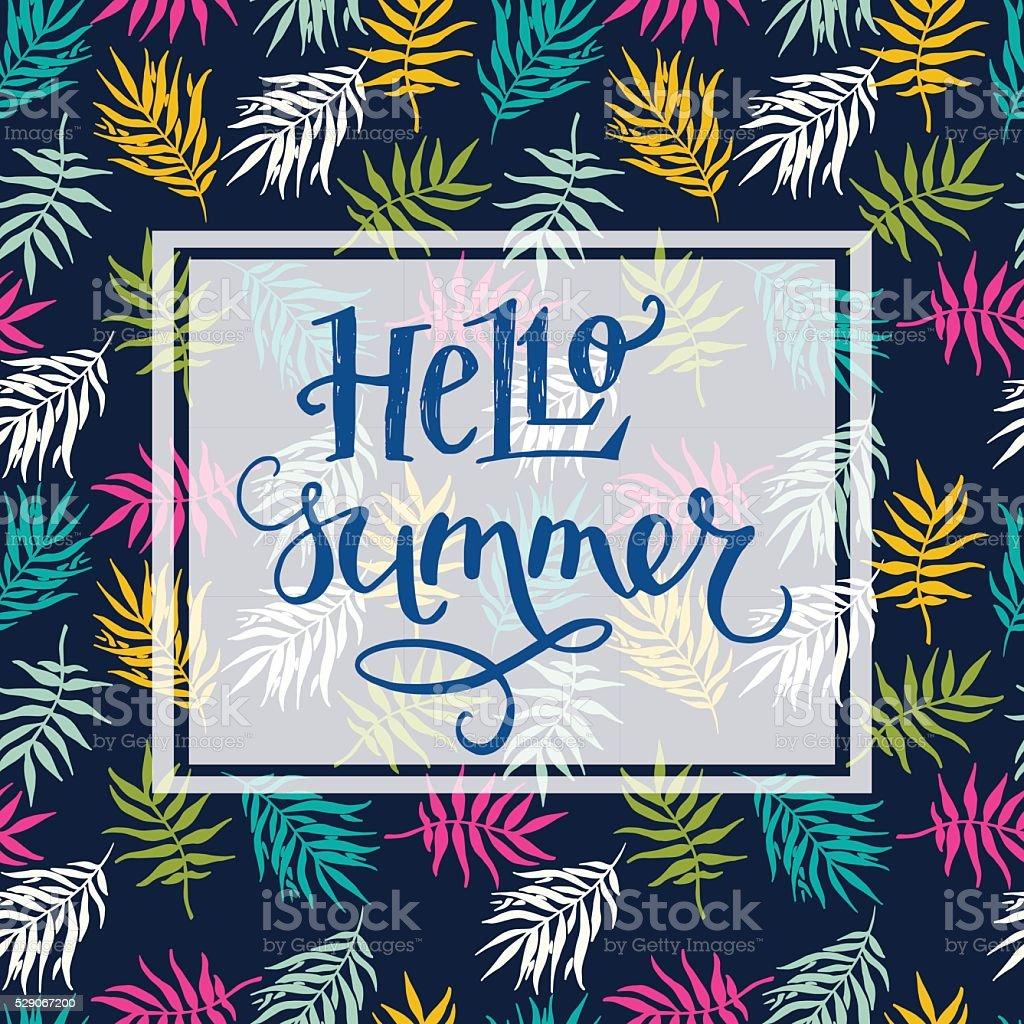 Hello Summerdiseño A Mano De Letras En El Bastidor Rectangular ...