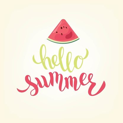 Hello summer hand lettering text with cute watermelon. Typography. Great for logo, badge, greeting, card, stick cake topper, party, baby birthday, banner, invitation template.