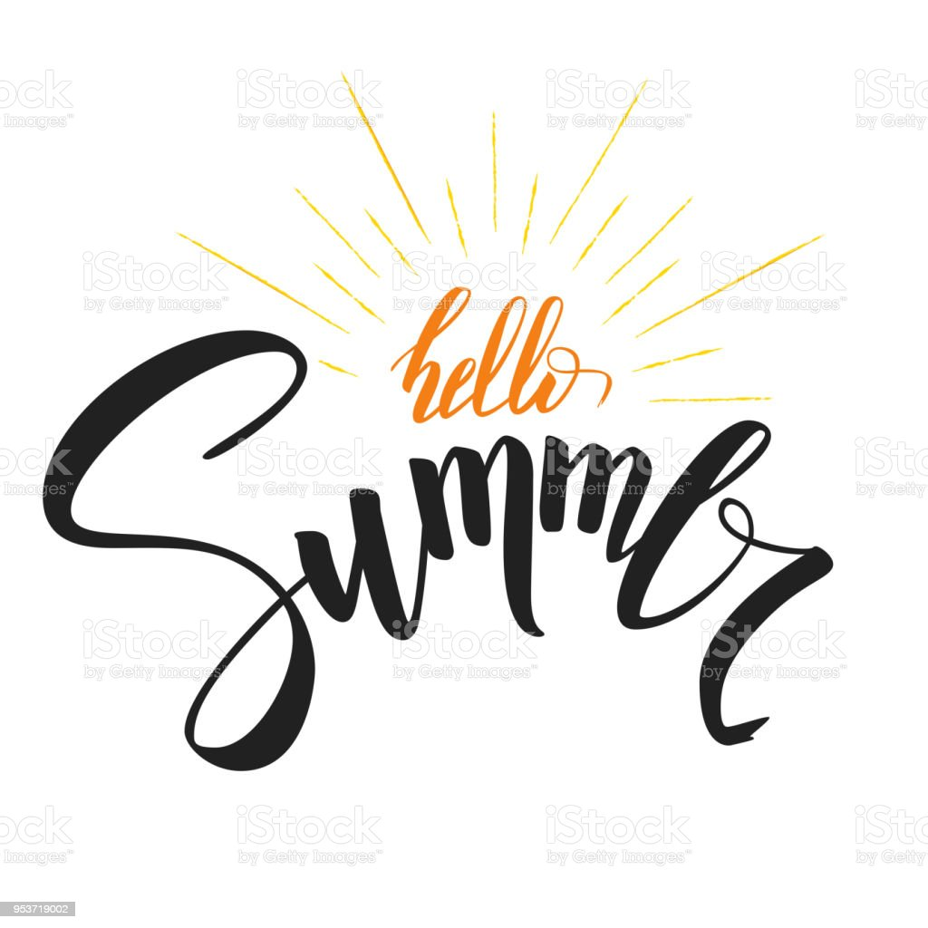 Hello Summer Handwritten Text With Symbol Of Sun Rays Hand Drawn ...