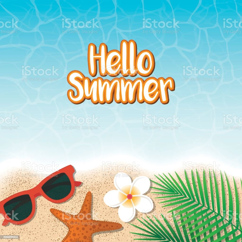 Hello Summer Holiday Background. Top View With Sunglasses, Starfish, Flower  And Leaf On