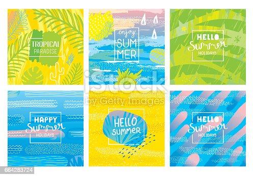 istock Hello summer holidays backgrounds 664283724