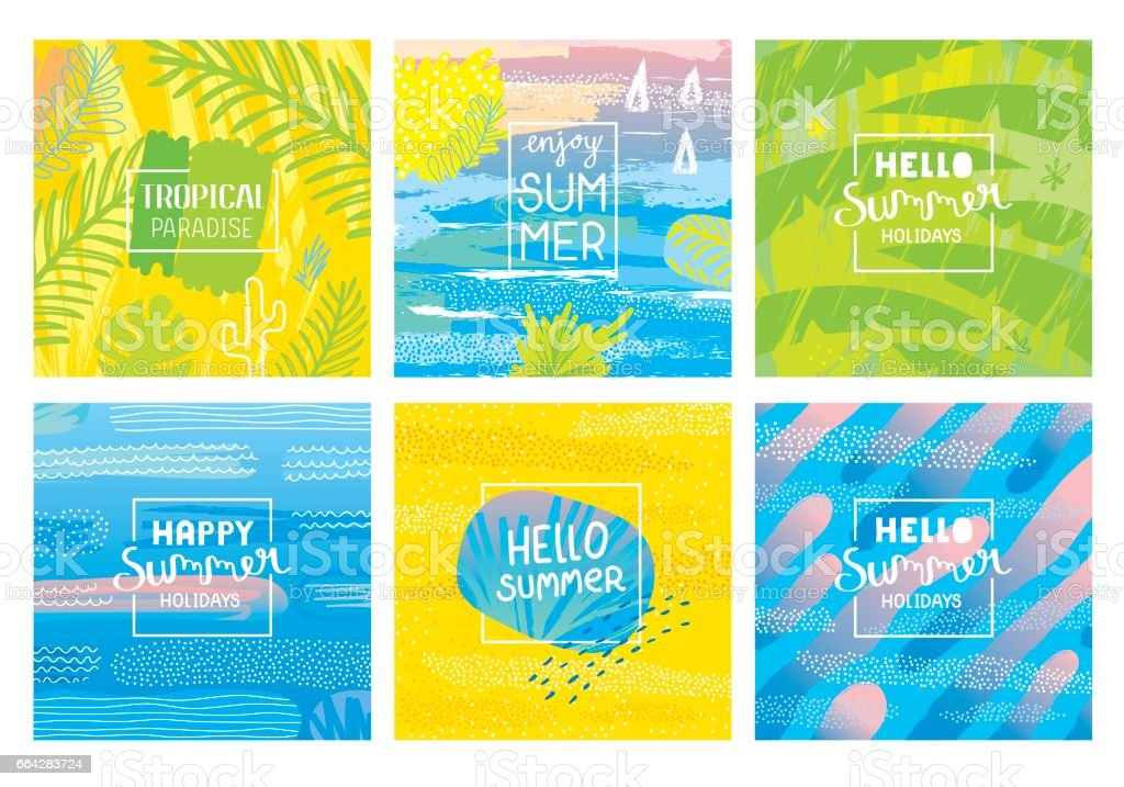 Hello summer holidays backgrounds vector art illustration