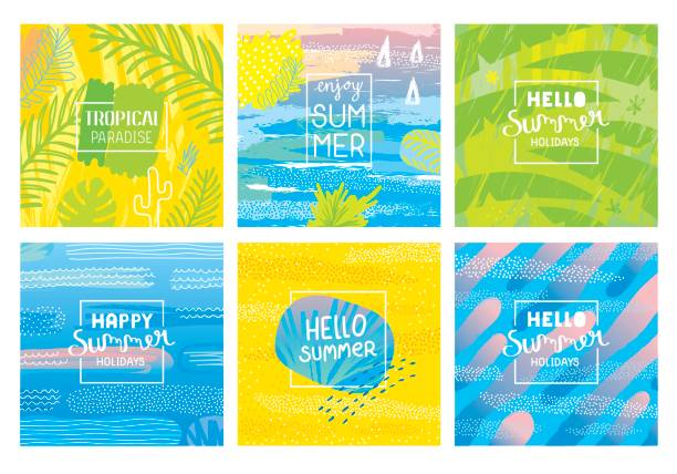hello summer holidays backgrounds - vintage nature stock illustrations, clip art, cartoons, & icons