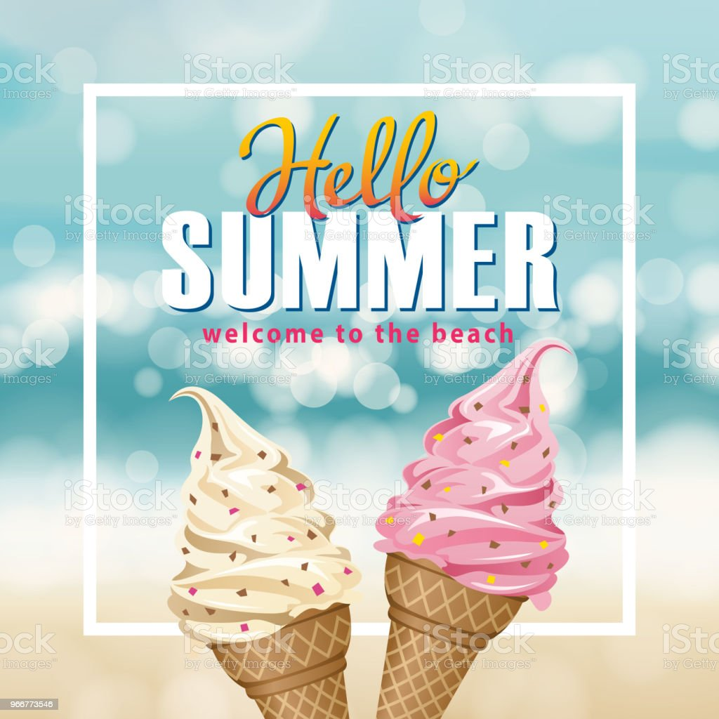 Hello Summer Ice-cream - arte vettoriale royalty-free di Acqua