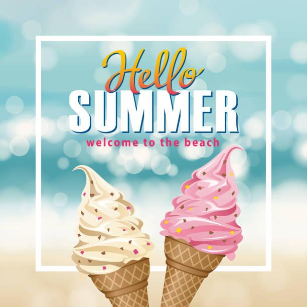 こんにちは夏のアイスクリーム - アイスクリーム点のイラスト素材/クリップアート素材/マンガ素材/アイコン素材