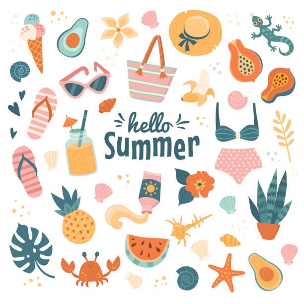 stockillustraties, clipart, cartoons en iconen met hello summer iconen collectie. - sandaal
