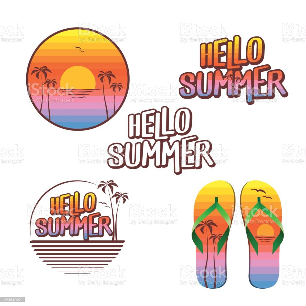 416eead3e02b Hello Summer Illustration Set Logo Text Flip Flops Painted With ...