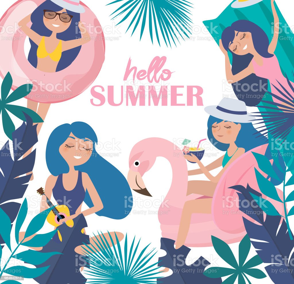 Hello summer illustration. Summer poster with relaxing girl on the beach royalty-free hello summer illustration summer poster with relaxing girl on the beach stock vector art & more images of adult