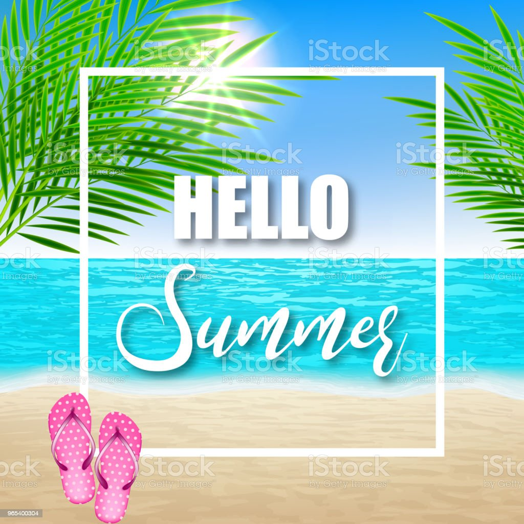 Hello summer . Illustration with beach and palm leaves - Grafika wektorowa royalty-free (Baner)