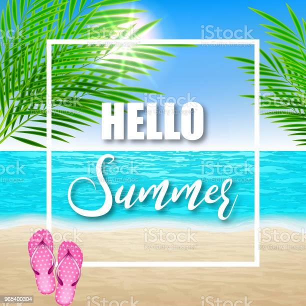 Witam Lato Ilustracja Z Liśćmi Plażowymi I Palmowymi - Stockowe grafiki wektorowe i więcej obrazów Baner