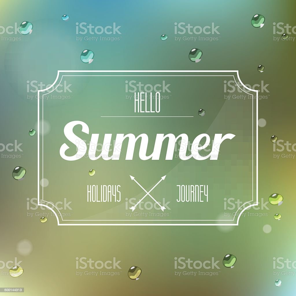 hello summer label on nature blur background royalty-free stock vector art