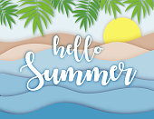 Hello Summer lettering Paper Applique origami style. Relaxed Sea view in summertime. Morning Sunrise. 3D Layered Paper Cuted Exotic craft banner. Layout for presentation, article. Vector illustration