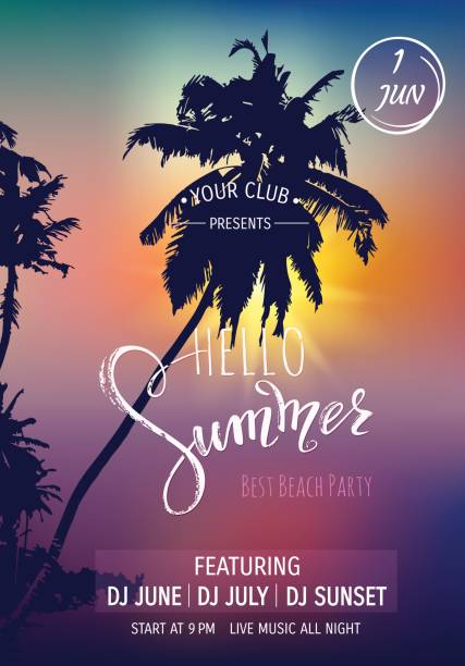 こんにちは夏のレタリング。熱帯ヤシの木、夕日を背景.パーティの招待状テンプレートです。 ベクトル イラスト EPS10。 ベクターアートイラスト