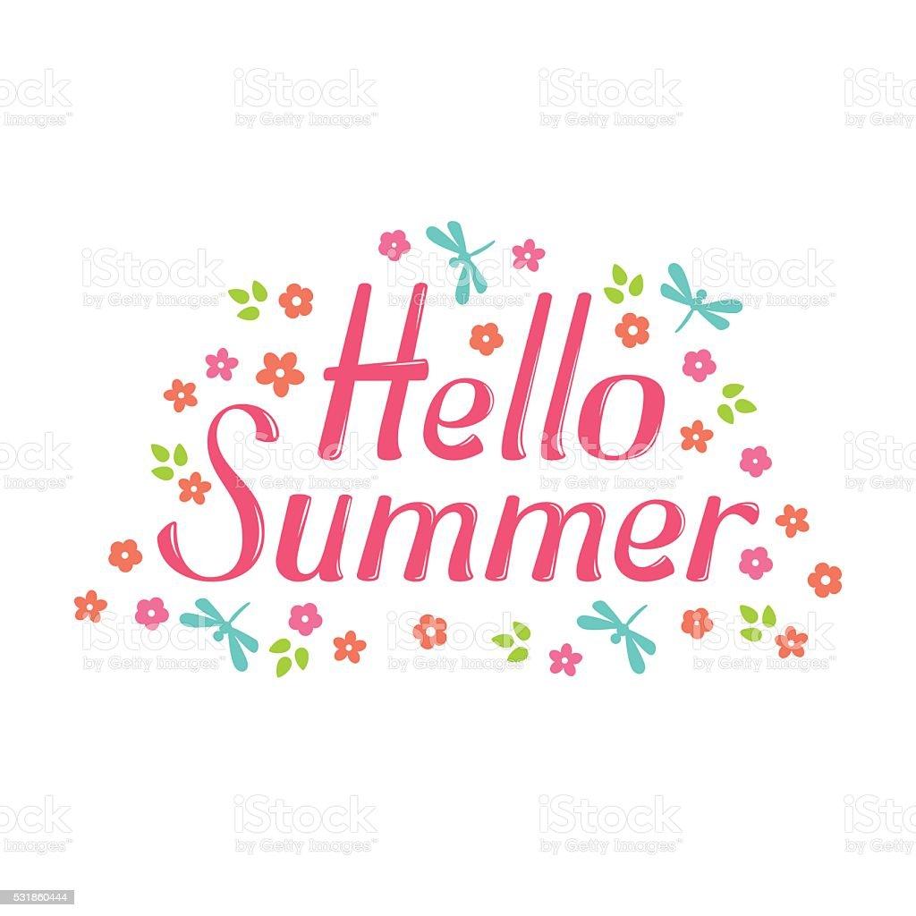 Hello Summer Lettering Stock Illustration - Download Image ...