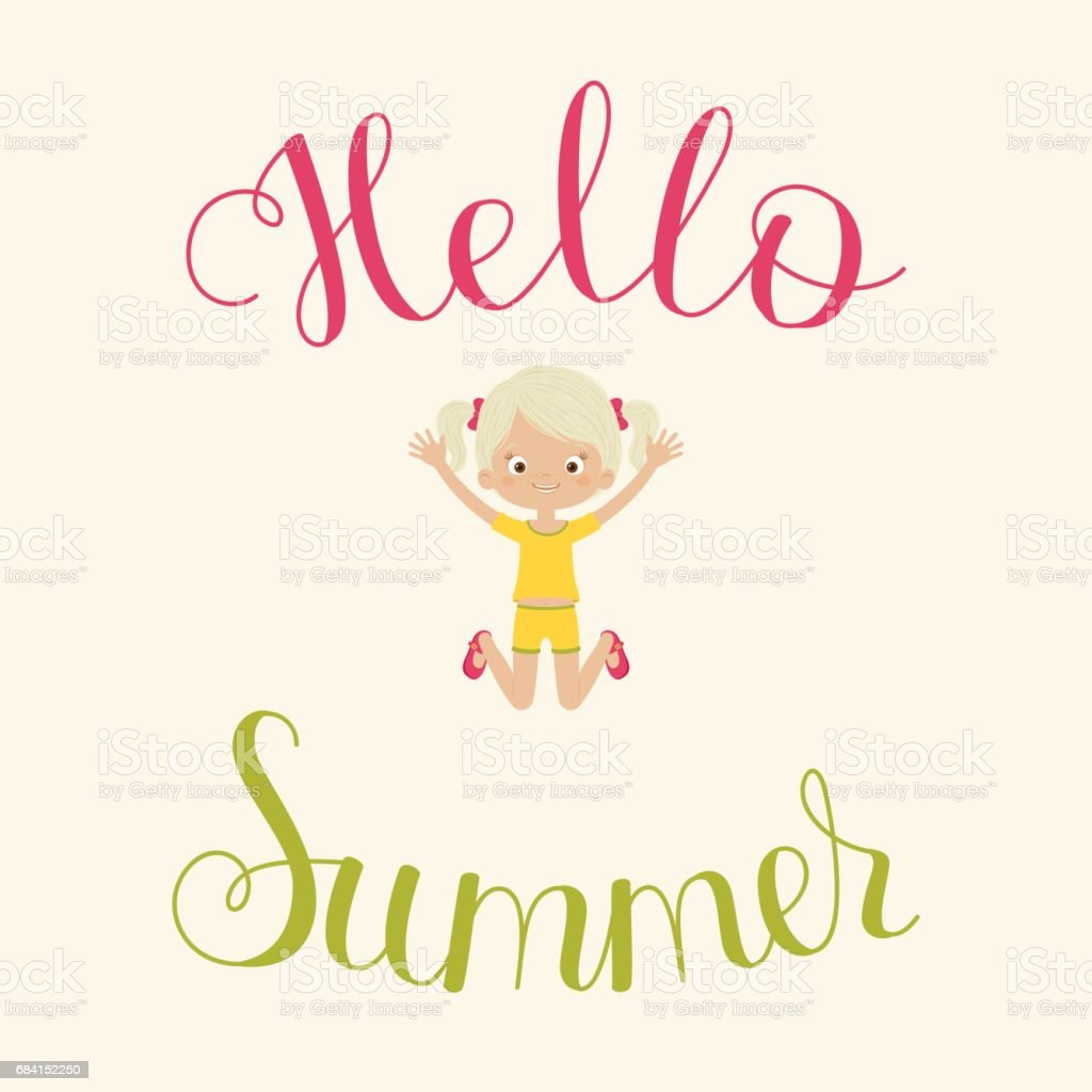 Hello Summer lettering with happy child hello summer lettering with happy child - immagini vettoriali stock e altre immagini di abbigliamento casual royalty-free