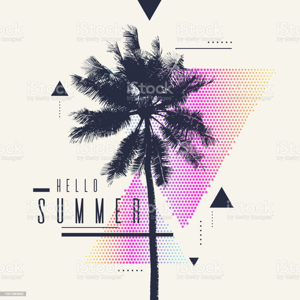 Hello Summer. Modern poster with palm tree and geometric graphic royalty-free hello summer modern poster with palm tree and geometric graphic stock illustration - download image now